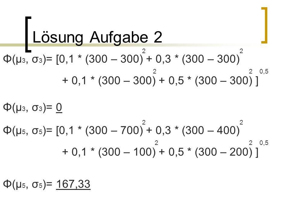 Lösung Aufgabe 2 Φ(µ3, σ3)= [0,1 * (300 – 300) + 0,3 * (300 – 300)